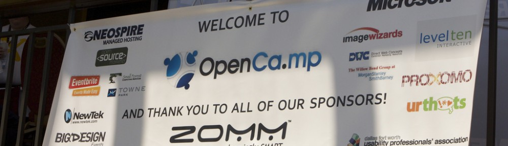 OpenCamp Welcome Banner by Jennifer Conley [http://www.flickr.com/photos/jenniferconley/4944331594/in/set-72157624721564411/]